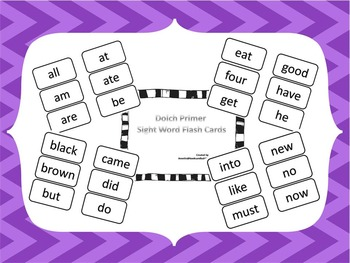 Dolch Pre-Primer and Primer Sight Word Flash Cards.  Prints 92 cards total..