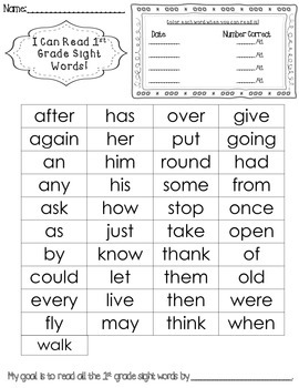Dolch Pre-Primer-3rd Grade Sight Word Tracker