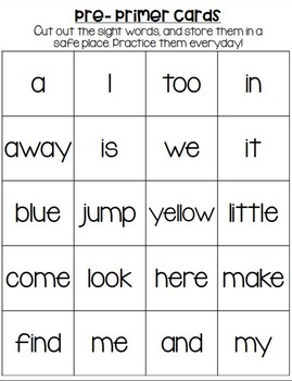Dolch Pre-Primer-3rd Grade Sight Word Tracker