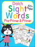 Dolch Pre-Primer & Primer Sight Words -High Frequency Words -Worksheets RF.K.3.c