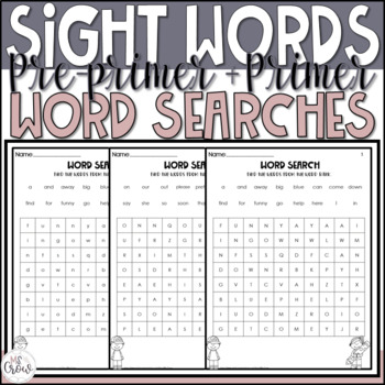 Pre-Primer and Primer Sight Word Searches