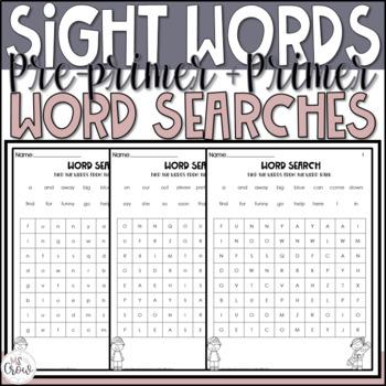 Pre-Primer and Primer Sight Word Searches