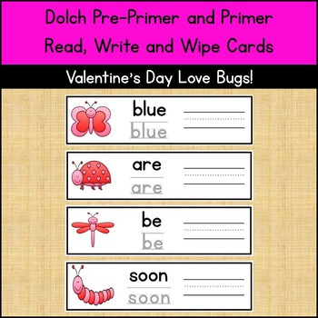 Dolch Pre-Primer and Primer Write and Wipe Cards - Valentine's Day!