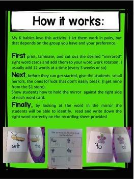 Dolch Pre Primer and Primer word practice! Mirror, Mirror!