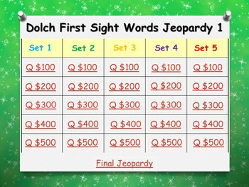 Dolch Pre-Primer to Third Sight Word JEOPARDY Games **BUNDLE**