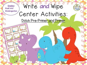 Dolch Pre-Primer and PRIMER Sight Words Write and Wipe Center Activities