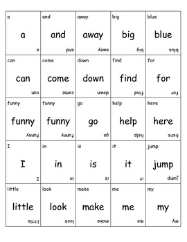 Dolch Pre-primer Sight Word Game Cards