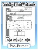 Dolch Pre-primer: Sight word worksheets