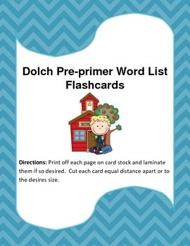 Dolch Pre-primer Word List Flash Cards.