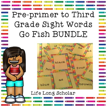 Dolch Pre-primer to Third Grade Sight Words Go Fish Review Games BUNDLE