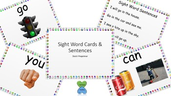 Dolch PrePrimer Sight Word Cards and Sentences
