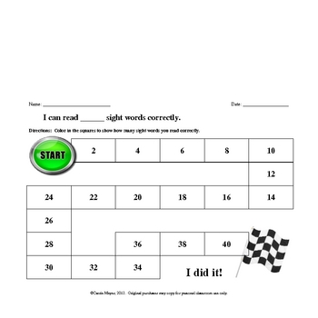 Dolch PrePrimer Sight Word Formative Assessment and Flashcards