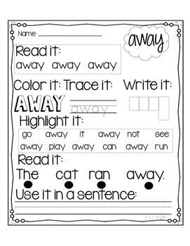 Dolch PrePrimer Sight Word Printables