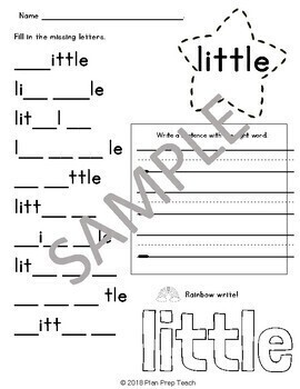 Preprimer Activity Bundle Write & Rainbow, Find and Count Center or Independent