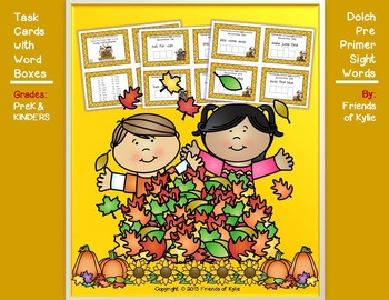 Dolch Pre Primer Autumn Word Boxes on Task Cards