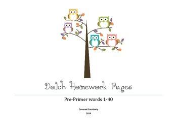 Dolch PrePrimer Homework Pages
