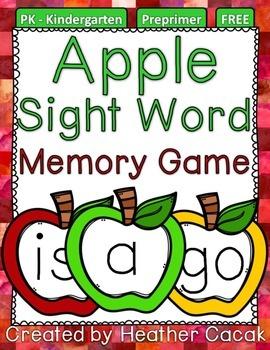 Preprimer Apple Sight Word Memory Game {FREE}