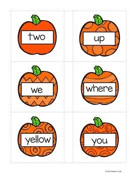 Preprimer Pumpkin Sight Word Memory Game