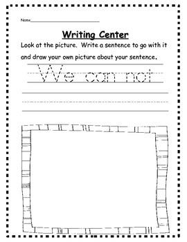 Dolch Preprimer Sentence Starters for Writing Center