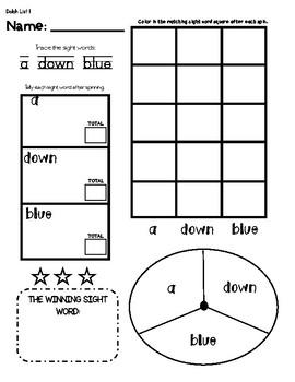 Dolch Preprimer Sight word games