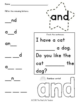 Preprimer What's Missing? Write and Rainbow Sight Word Work