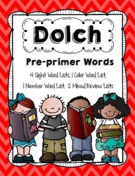 Dolch Preprimer Word List Freebie
