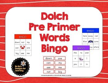 Dolch Preprimer Words Bingo