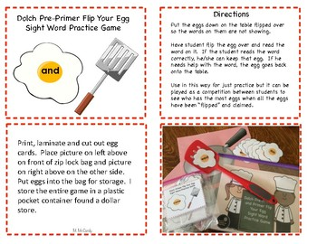 Dolch Preprimer and Primer Flip Your Egg Sight Word Game
