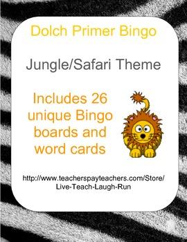 Dolch Primer Bingo Game - Safari Theme