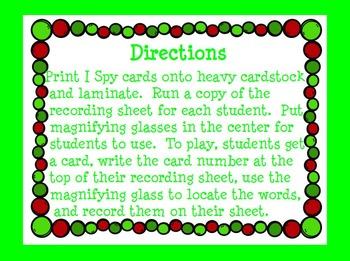 Dolch Primer Christmas I Spy Cards
