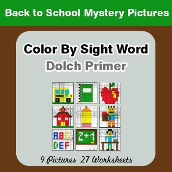 Dolch Primer: Color by Sight Word - Back To School Mystery Pictures