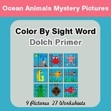 Dolch Primer: Color by Sight Word - Ocean Animals Mystery Pictures