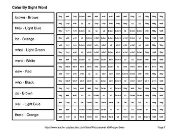 Dolch Primer: Color by Sight Word - Pets Mystery Pictures