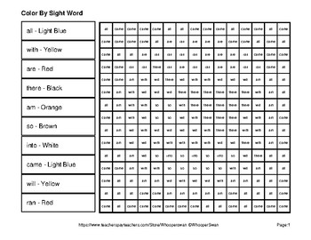 Dolch Primer: Color by Sight Word - Pirates Mystery Pictures