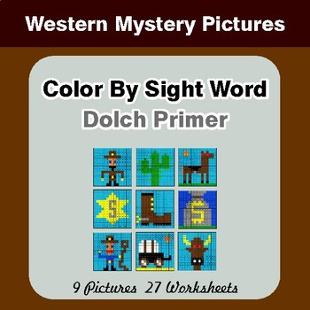 Dolch Primer: Color by Sight Word - Western Mystery Pictures