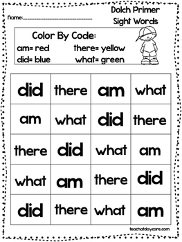 Dolch Primer Color the Words By Color Code worksheets.  Preschool-KDG sight word
