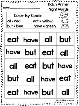 Dolch Primer Color the Words By Color Code worksheets.  Pr