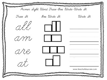 Dolch Primer Cursive Trace, Box Write, Write worksheets. PreK-2nd Grade.