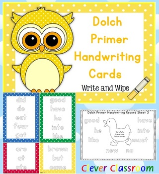 Dolch Primer Handwriting Cards Center with Record Sheets - 19 pages