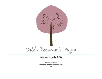 Dolch Primer Homework Pages