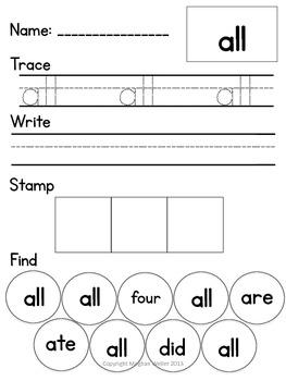 Dolch Primer List Trace, Write, Stamp, & Find