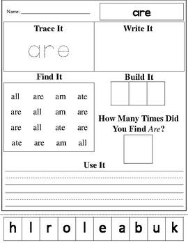 Dolch Primer Practice Worksheets