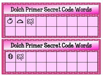 Dolch Primer Secret Code Words