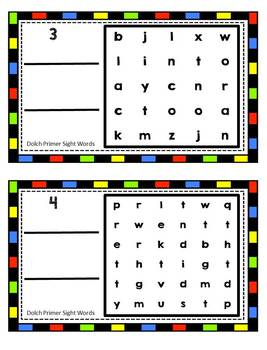 Dolch Primer Sight Vocabulary Word Search Sliders