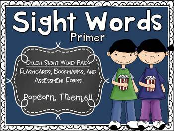 Dolch Primer Sight Word Assessment Pack Popcorn Theme - CCSS Aligned