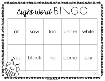 Dolch Primer Sight Word BINGO