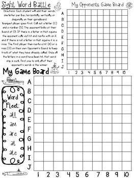 Dolch Primer Sight Word Battle. Preschool-Kindergarten Sight Word Activity.