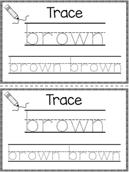 Dolch Primer Sight Word Booklet BROWN