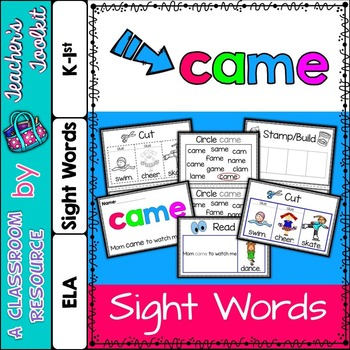 Dolch Primer Sight Word Booklet CAME