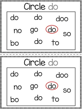 Dolch Sight Word Booklet DO
